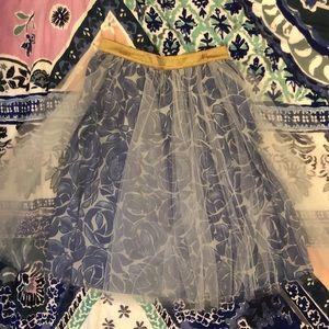 Anthropologie Tulle Overlay Skirt